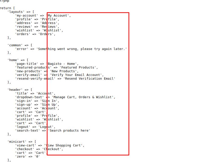 Shop language File Bagisto
