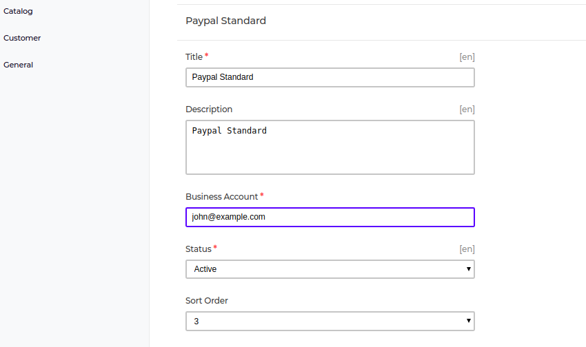 Paypal Standard in bagisto