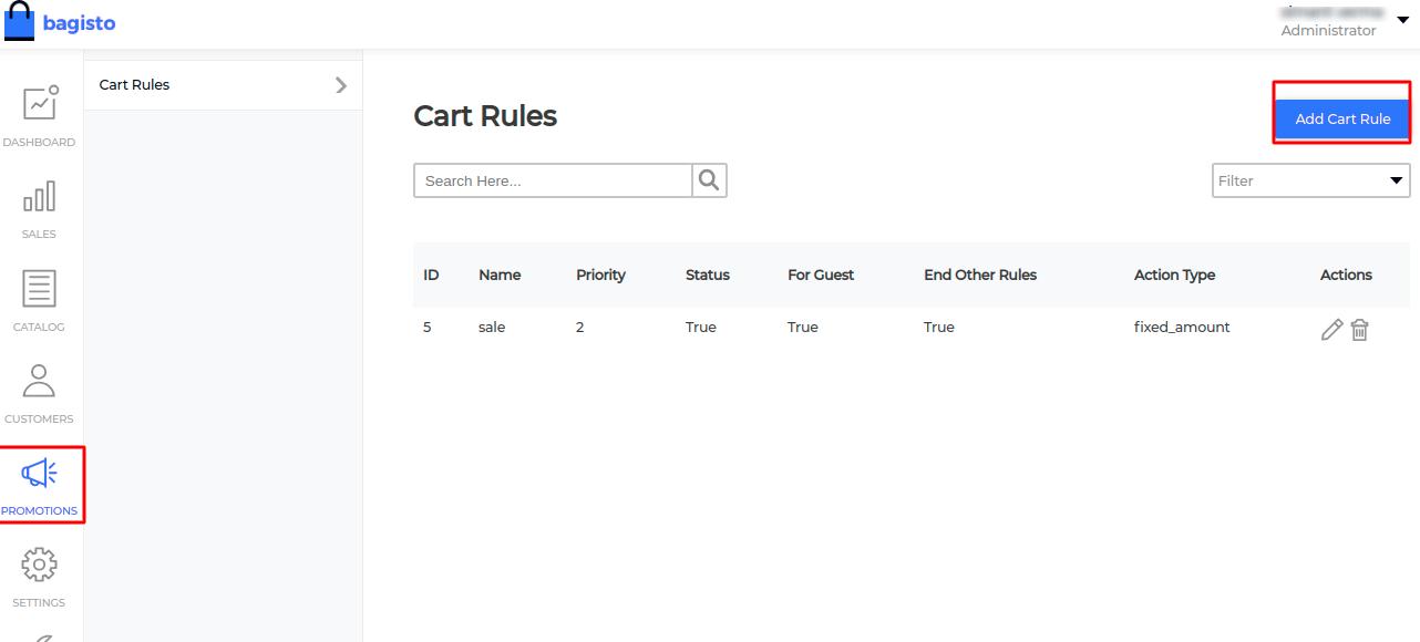bagisto promotion cart rule
