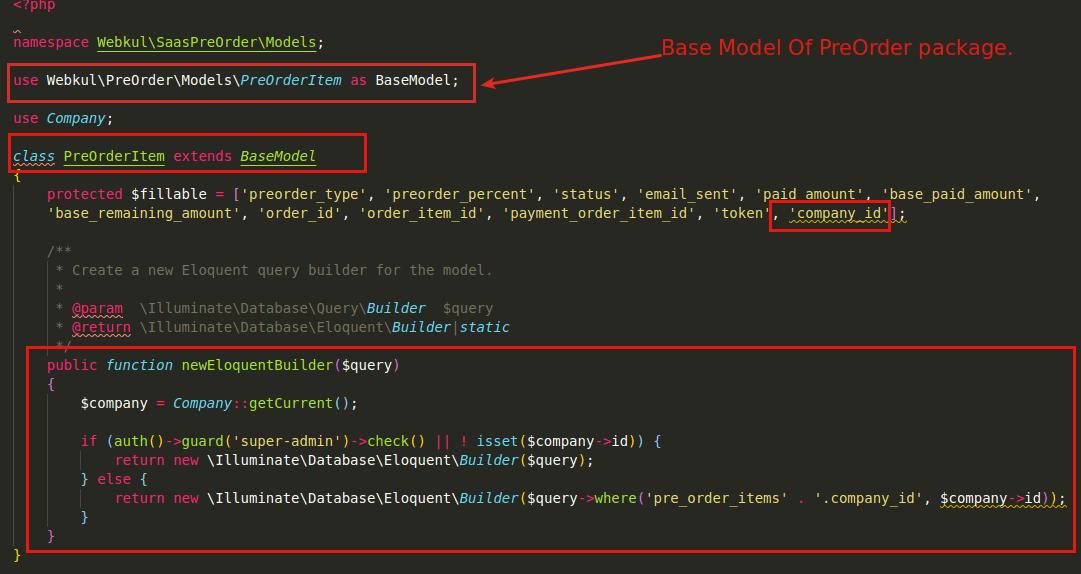 Extend base model in SaaS Module